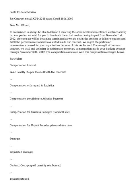Termination Letter Format For Housekeeping Contract Contract Termination Letter