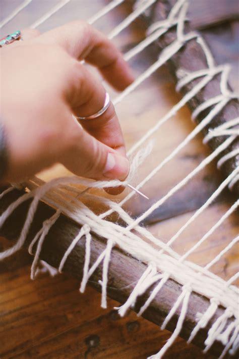 string pattern weaving frame diy branch weaving