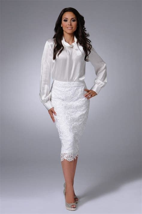 white pencil skirt white satin blouse and beige high heels
