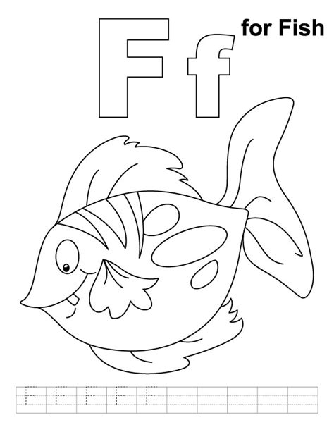 F Is For Fish Coloring Page f for fish coloring page with handwriting practice