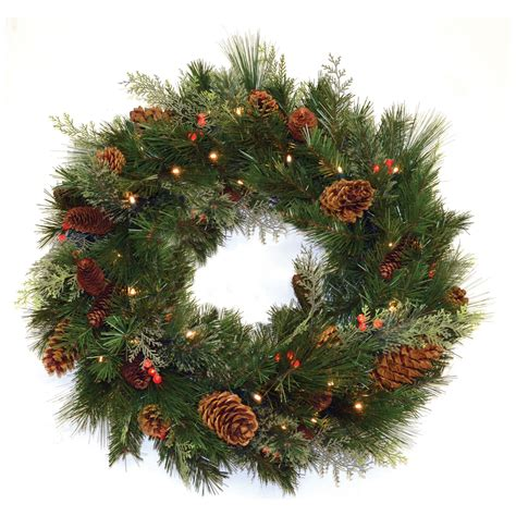 30 in white pine pre lit led wreath battery operated