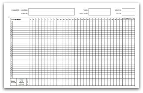 attendance register template search results for employee attendance record template