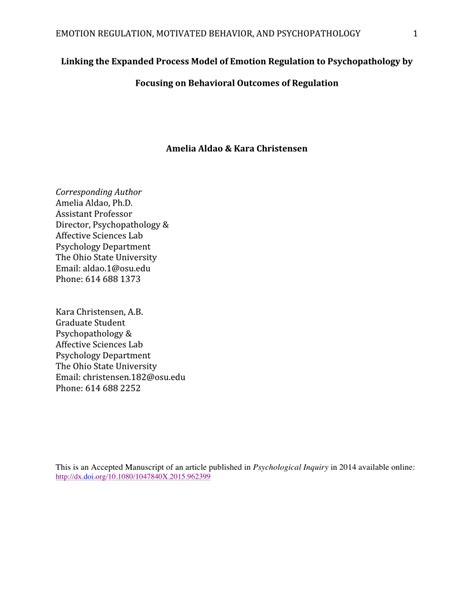 Process Model Of Emotion Regulation