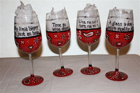 wine glass sayings red bandanna wine glasses funny sayings painted wine