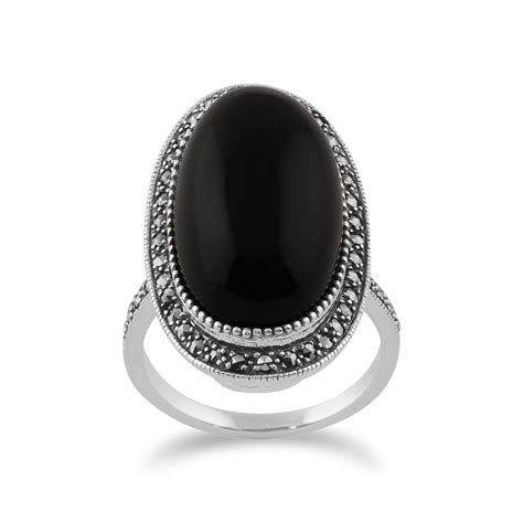 sterling silver black onyx marcasite deco oval