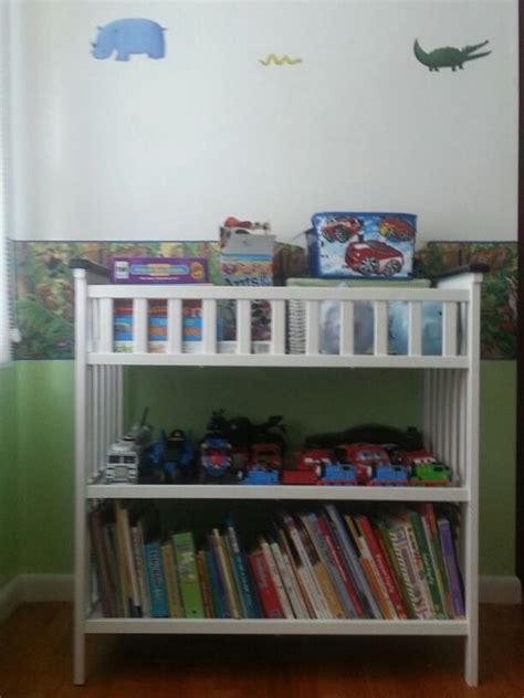 Repurposed Changing Table Changing Table Repurposed As Book And Storage Shelves And Room Organization