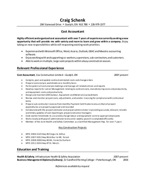 cost accountant resume template staff cost accountant
