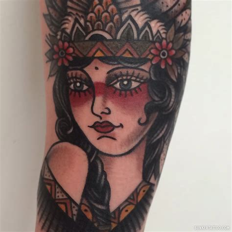 girl face tattoo traditional bunker quality tattoos