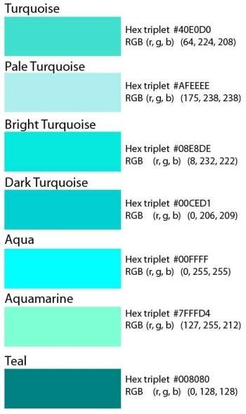 what does the color teal mean differences between turquoise teal and aqua turquoise