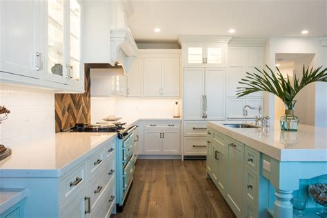 west island kitchen coastal white kitchen with custom turquoise island