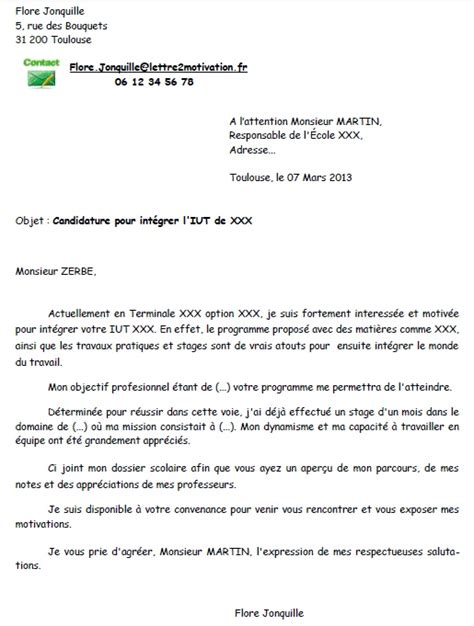 Exemple De Lettre De Motivation Iut exemple cv admission iut cv anonyme