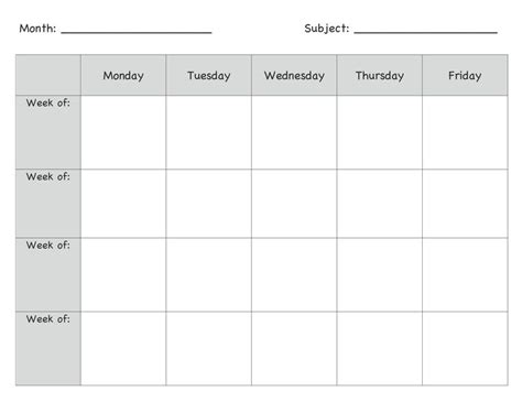 week at a glance lesson plan template printable week at a glance lesson plan template free