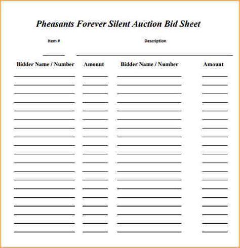 silent auction bid sheet blank silent auction bid sheet
