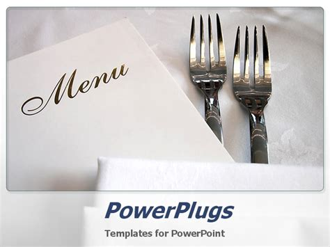 powerpoint template two forks and the menu card with