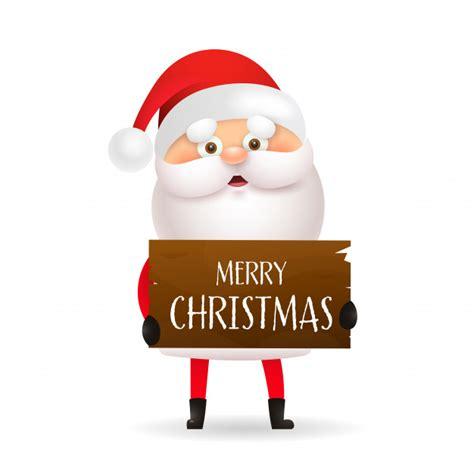 cartoon santa claus holding merry christmas banner vector