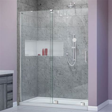 Dreamline Frameless Sliding Shower Door Dreamline Mirage X 56 In To 60 In X 72 In Semi Frameless Sliding Shower Door In Chrome Shdr