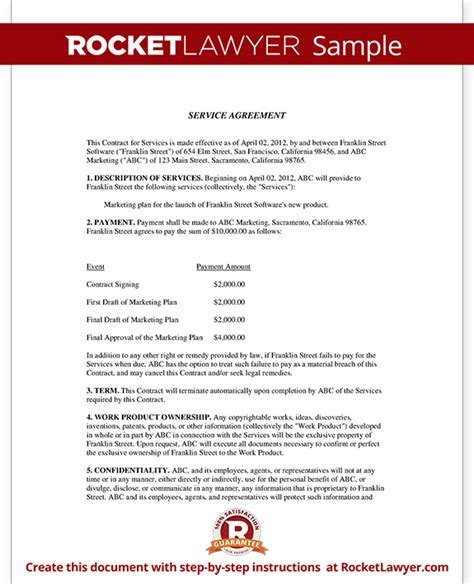Letter Of Agreement For Service Service Agreement Contract Template With Sle