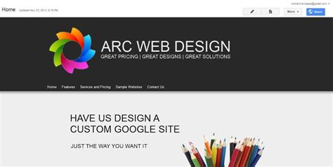 design google page in html change the banner arc templates google sites templates
