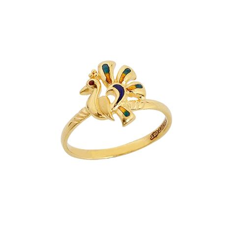 rings fancy minakari peacock gold ring grt jewellers