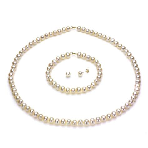 davonna 14k gold white fw pearl necklace bracelet and