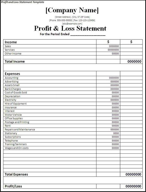 Profit And Loss Statement Template Planners Profit Loss Statement Small Business Business Plan Profit And Loss Template