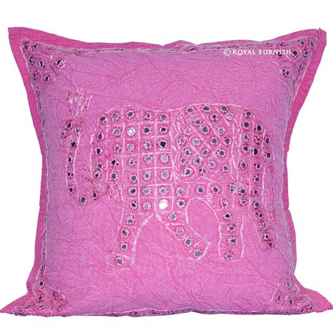 Pink Elephant Pillow by Pink Elephant Design Mirror Embroidery Work Decorative