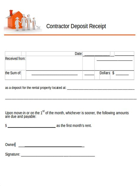 receipt template deposit check construction 5 contractor receipt forms free sle exle format