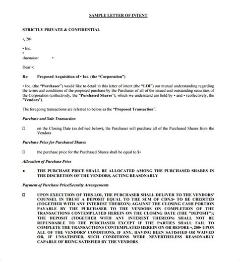 letter of intent to buy a business template purchase letter of intent 10 free word pdf format