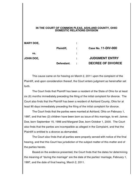 divorce decree template best photos of exles of divorces sle divorce