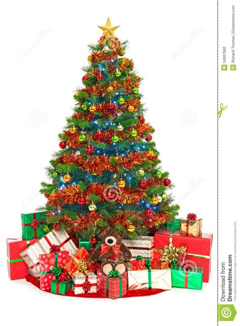 christmas tree  presents isolated  white stock