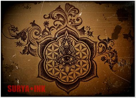 surya tattoo designs flower of mandala dotwork design sacred