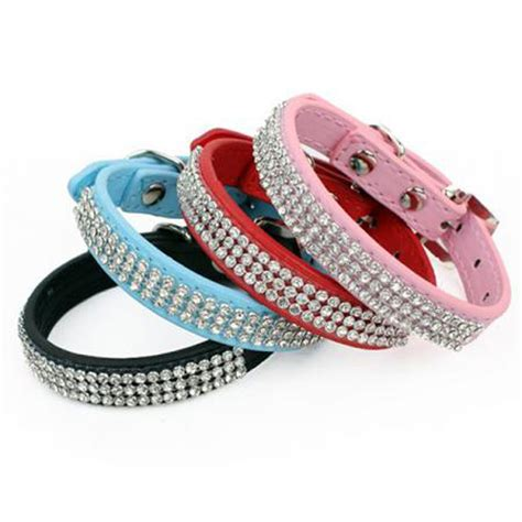 puppy collar size bling rhinestone collars pet pu leather puppy pet collar size s m