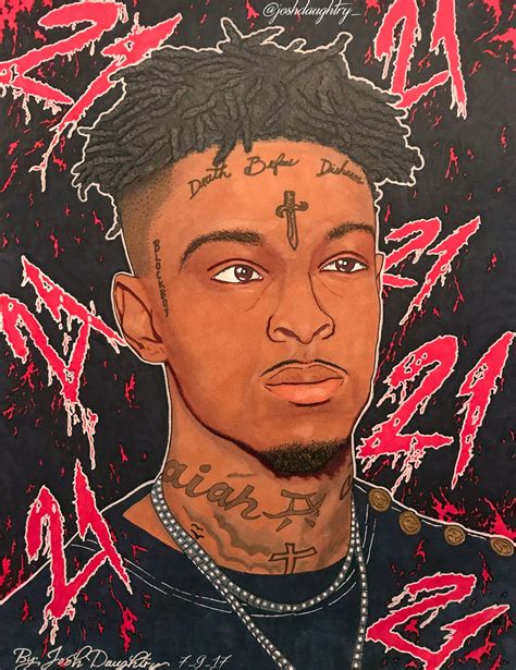 Drawing 21 Savage by Quot 21 Savage Quot Print Josh Daughtry Tictail