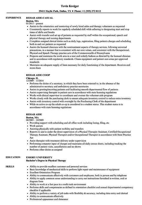 rehab resume rehab aide resume resume ideas