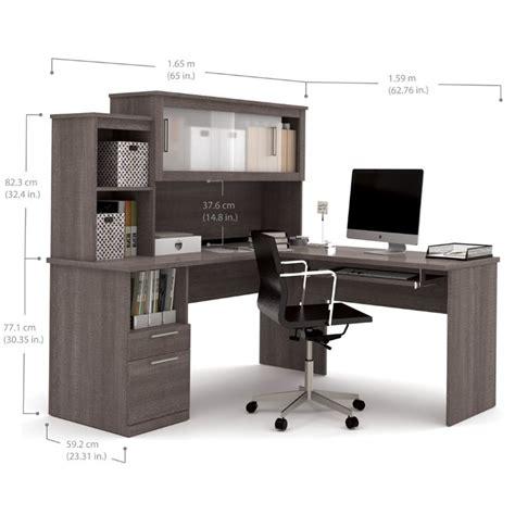 bestar l shaped desk bestar dayton l shaped desk in bark gray 88420 47