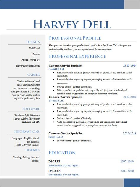 unique resume templates 19 sle creative resume templates sle templates