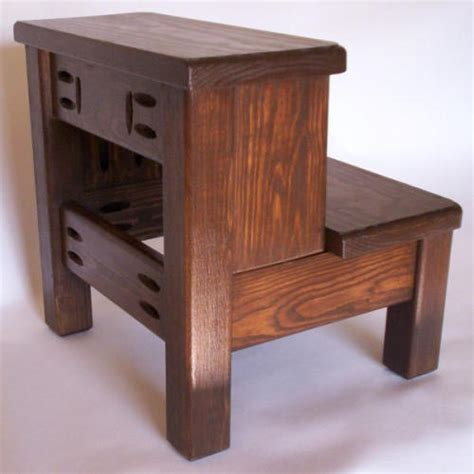 2 Step Wooden Step Stool by Walnut 2 Step Classic Step Stool Solid Wood Ebay