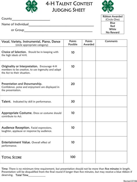 judging score card template talent show score sheet for free formtemplate