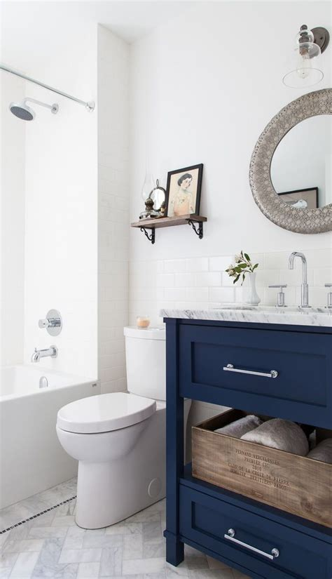 navy vanity 11 bloggers bathrooms for the home pinterest