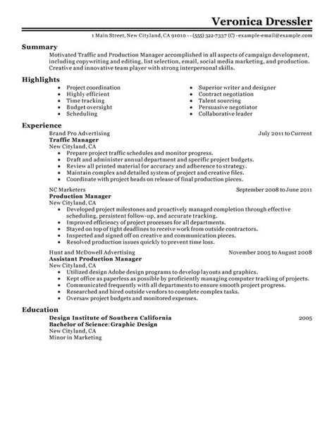 Radio Traffic Manager Resume by Best Traffic And Production Manager Resume Exle