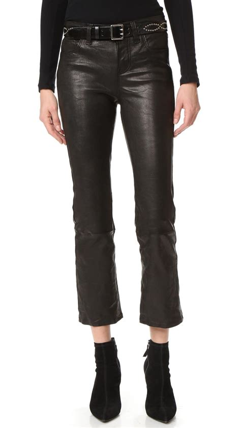 leather pants j brand selena cropped leather pants in black lyst