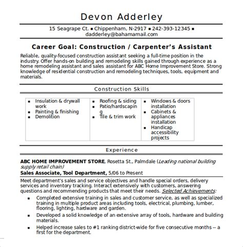 contractor resume template sle construction resume template 11 free documents