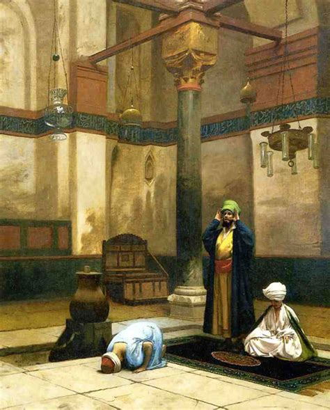 F U R L A Ukrn 28x22 Semiprem Kulit painting reproduction of gerome theree worshippers praying in a corner