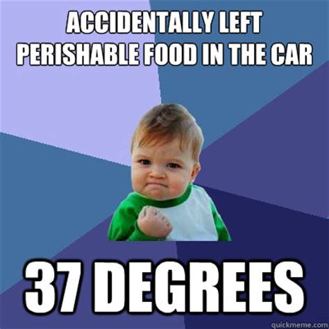 Accidentally Meme - accidentally left perishable food in the car 37 degrees
