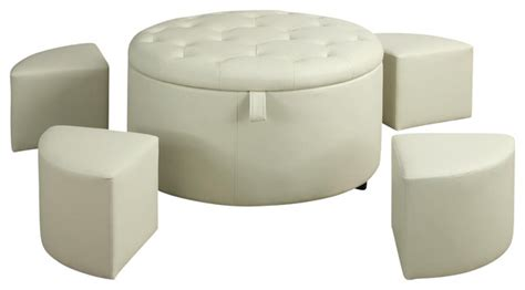 faux leather coffee table large round leather ottoman white faux leather tufted top cocktail coffee table 5 pc