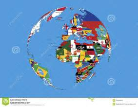 world map with country name and flag world globe europe africa and asia flags map stock