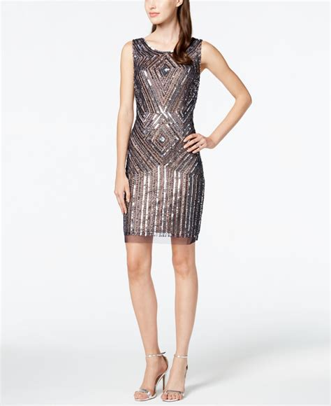 beaded silver dress papell beaded sequin sheath dress in silver