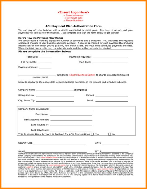 10 Ach Payment Form Template Sles Of Paystubs Ach Form Template