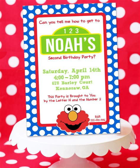 sesame birthday card template elmo sesame inspired birthday invitation card