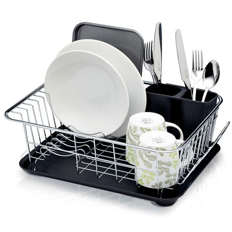 dish drainer and tray kitchencraft dish drainer rack with drip tray 42 x 30 5 x